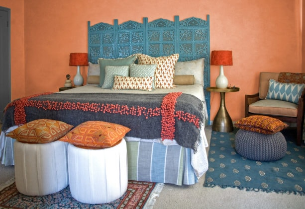 coral and blue theme in an Indian bedroom