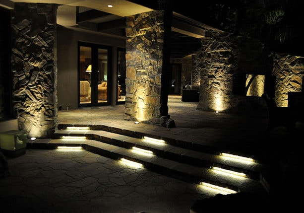 trendy patio design with led light bars as an outdoor stair lighting