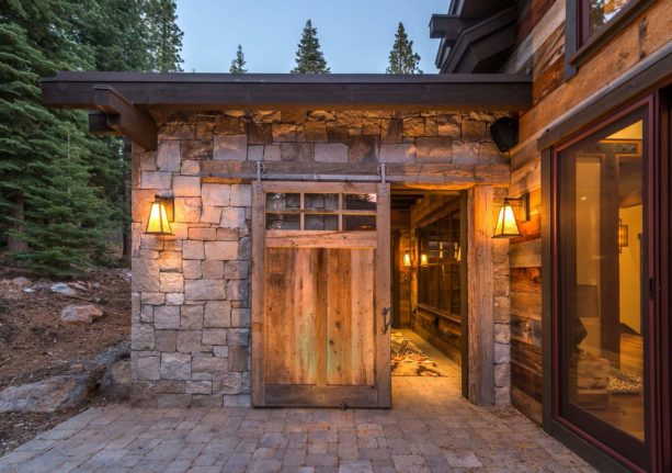 rustic exterior design with a single sliding barn side door