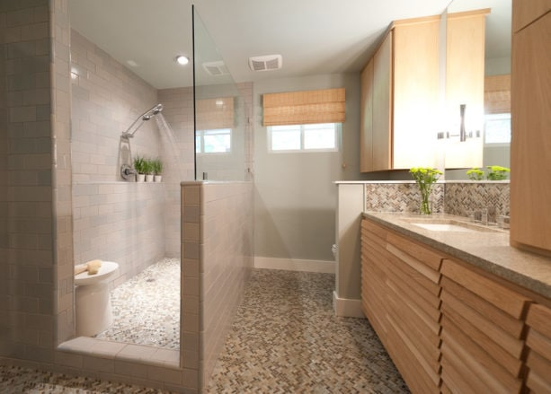 the stunning master bathroom with porcelain mosaic tiles and without tub