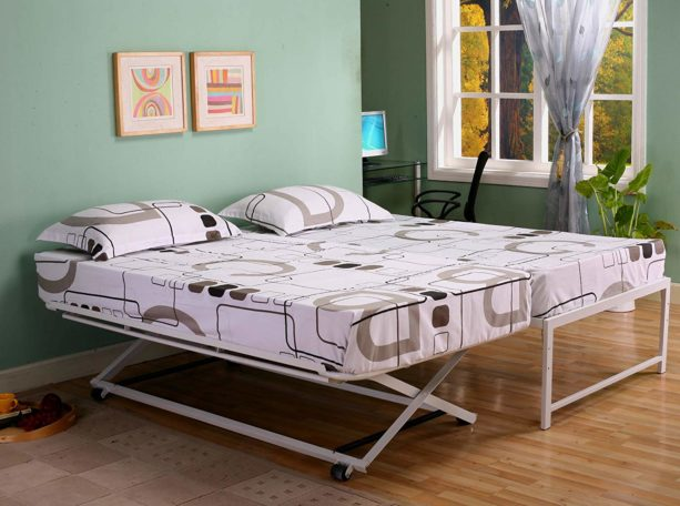 Kings Brand Furniture Twin Size Steel Day Bed (Daybed) Frame with Pop Up Trundle & Mattresses
