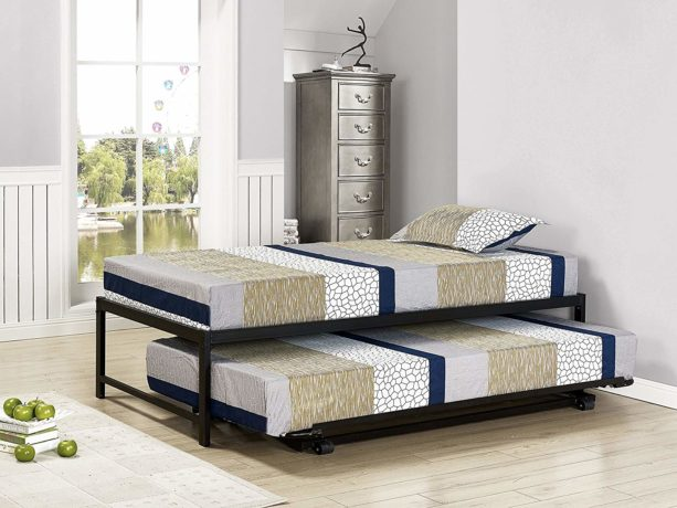 Kings Brand Furniture Twin Size Black Metal Platform Bed with Pop Up Trundle