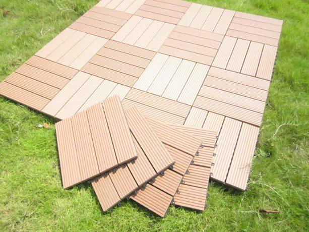 uneven grass floor in interlocking tiles installation