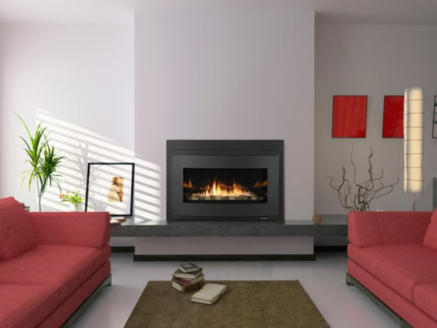 red and grey combination can create a calming living room too