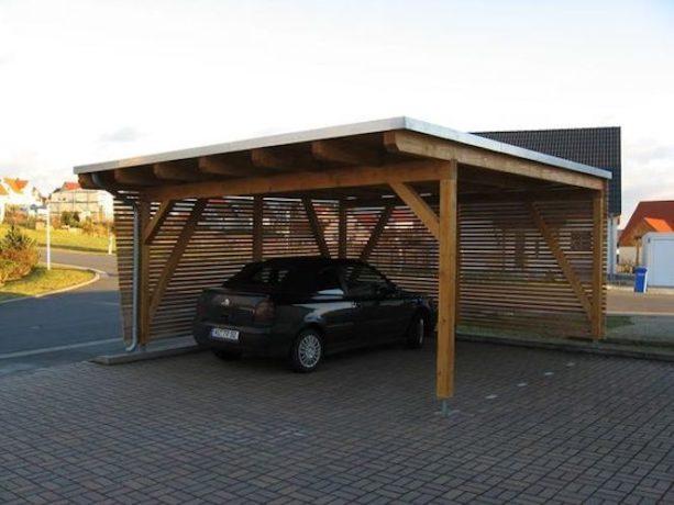 enclosing a metal carport with a horizontal wood slat wall