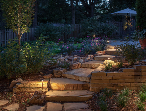halogen outdoor lighting in a traditional style stone stair