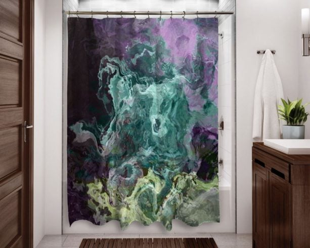 purple and green mood abstract shower curtain