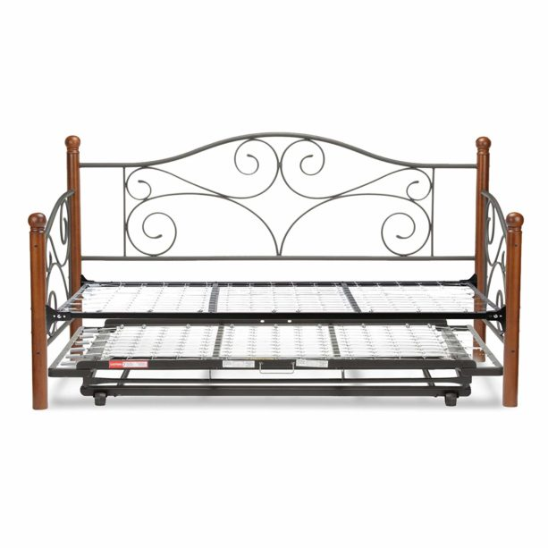 Fashion Bed Group Doral Complete Metal Daybed with Link Spring and Trundle Bed Pop-Up Frame, Twin, Matte Black Finish