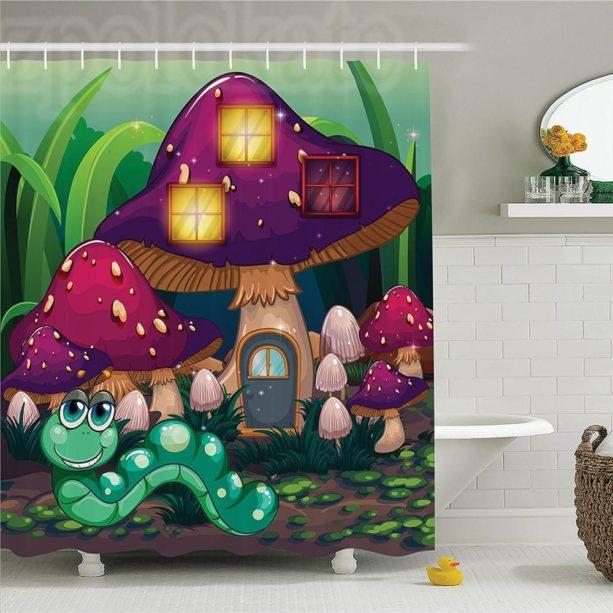Ambesonne green worm and purple mushroom house shower curtain