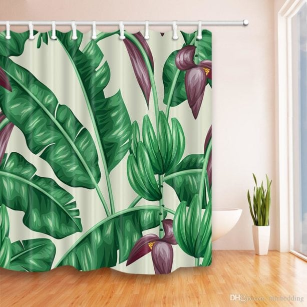 banana leaves and flowers shower curtain