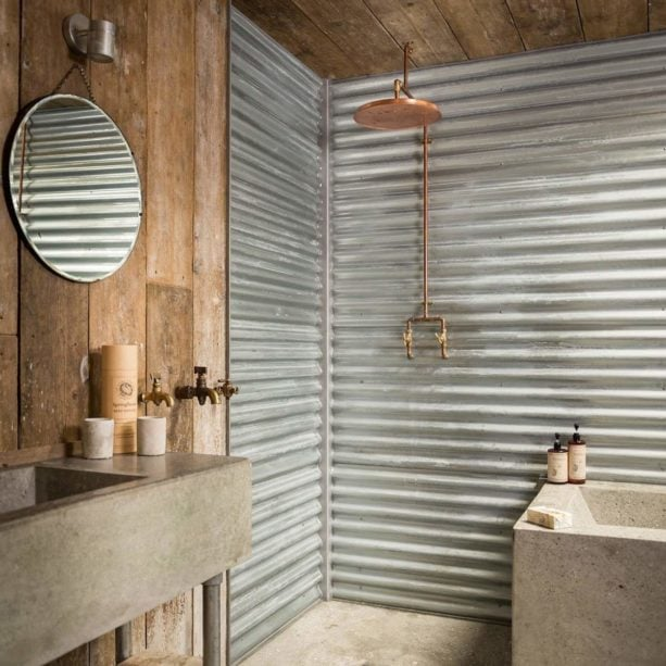 bathroom wall paneling from corrugated metal material