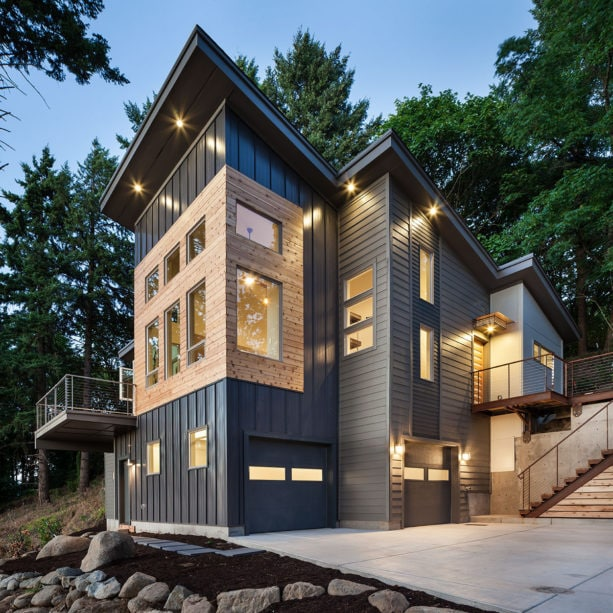 gray siding house with standing seam roofing metal color combination
