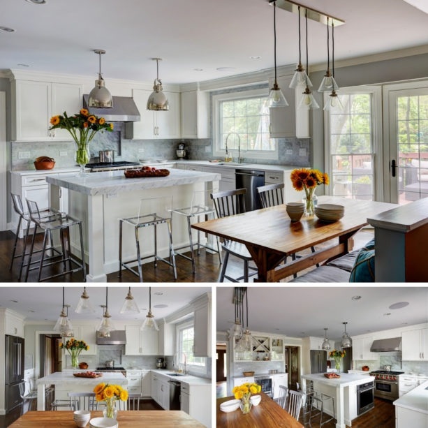large awning windows over a single bowl sink in a transitional kitchen