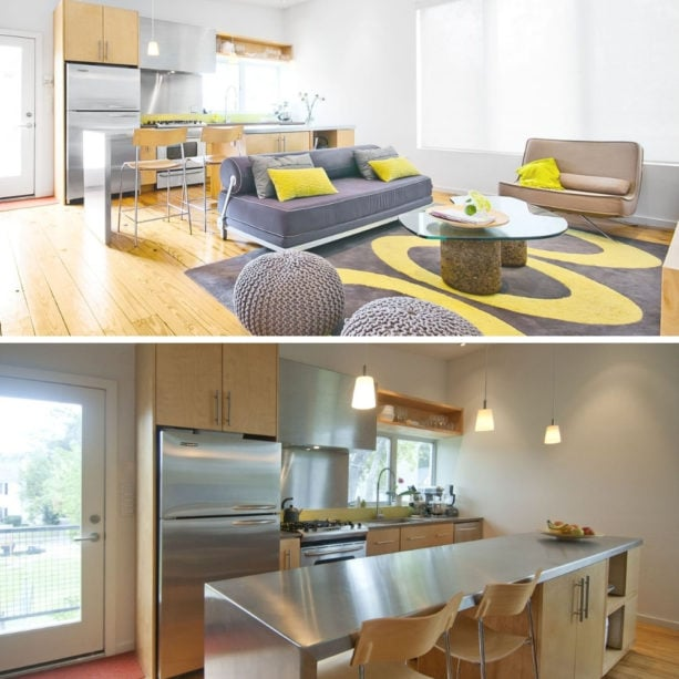 stainless steel modern kitchen and grey contemporary living room combo