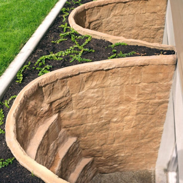 a pair of rockwell basement window well ideas with steps to climb