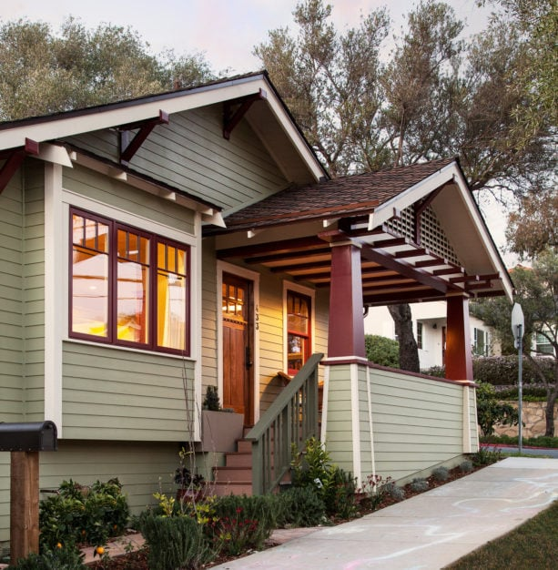 three-colored front porch ideas with a roof extension for a ranch style home