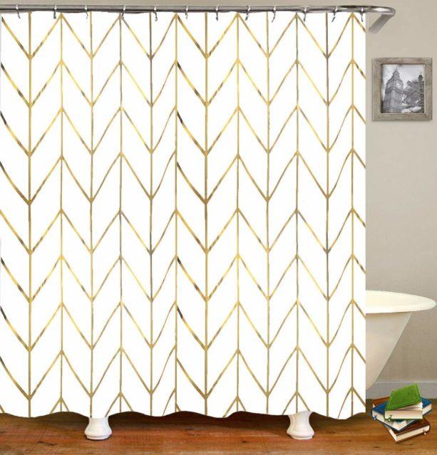 JTMall geometric golden chevron shower curtain