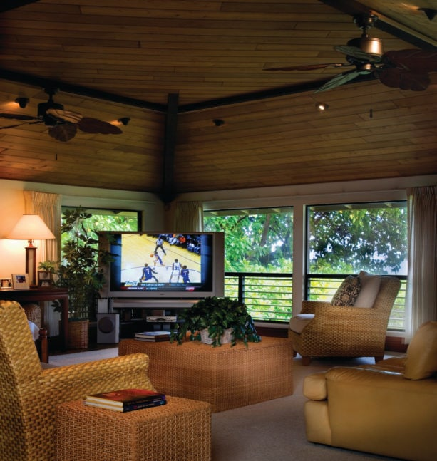 ceiling fans provided to cool down the room as well as the TV in front of the windows