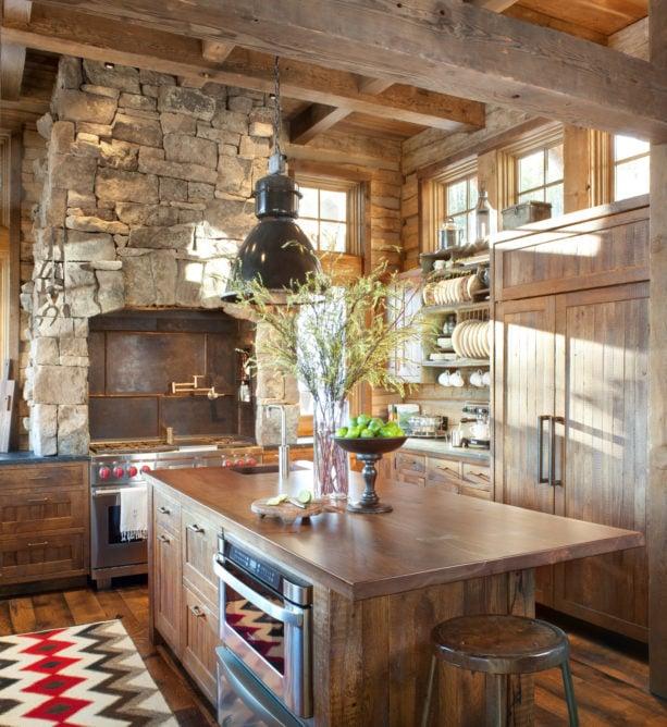 antique range backsplash behind stove only in a rustic kitchen