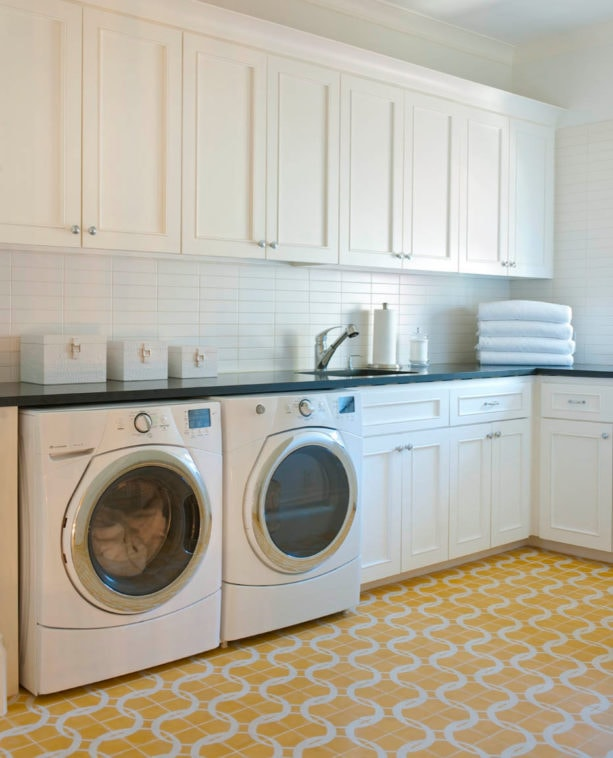 versatile yellow cement tile laundry room floor to give a pop of color
