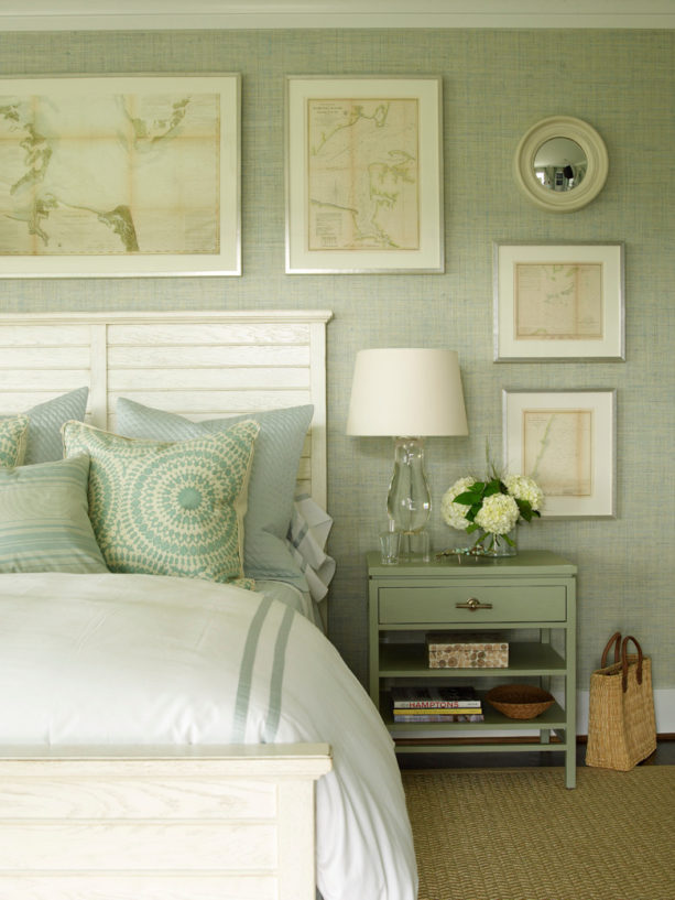 a beach-style bedroom with pastel green, gray, and ivory white color combination