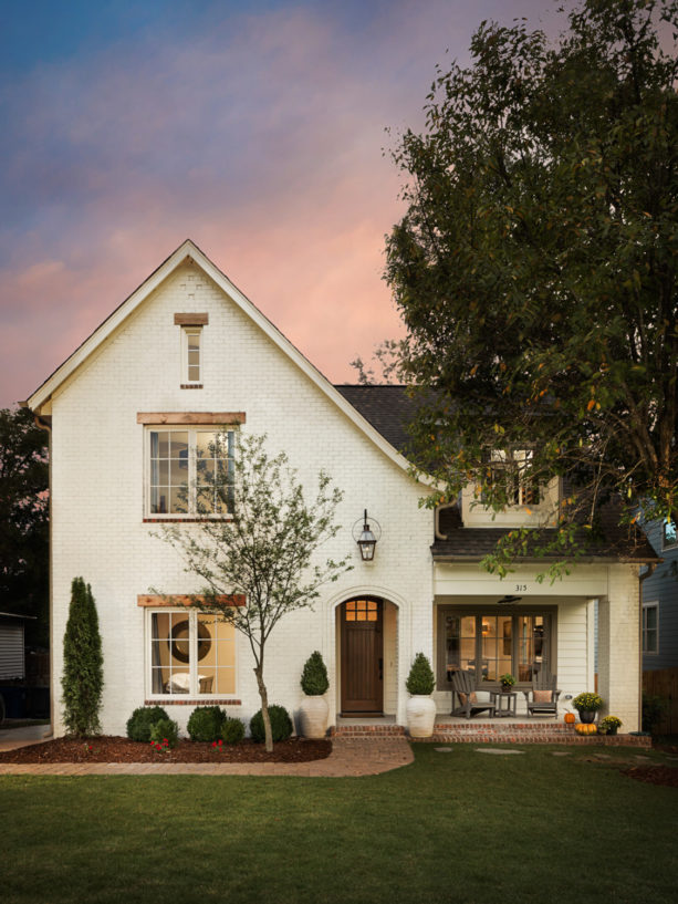 white paint with beige undertone in a modern-rustic house exterior