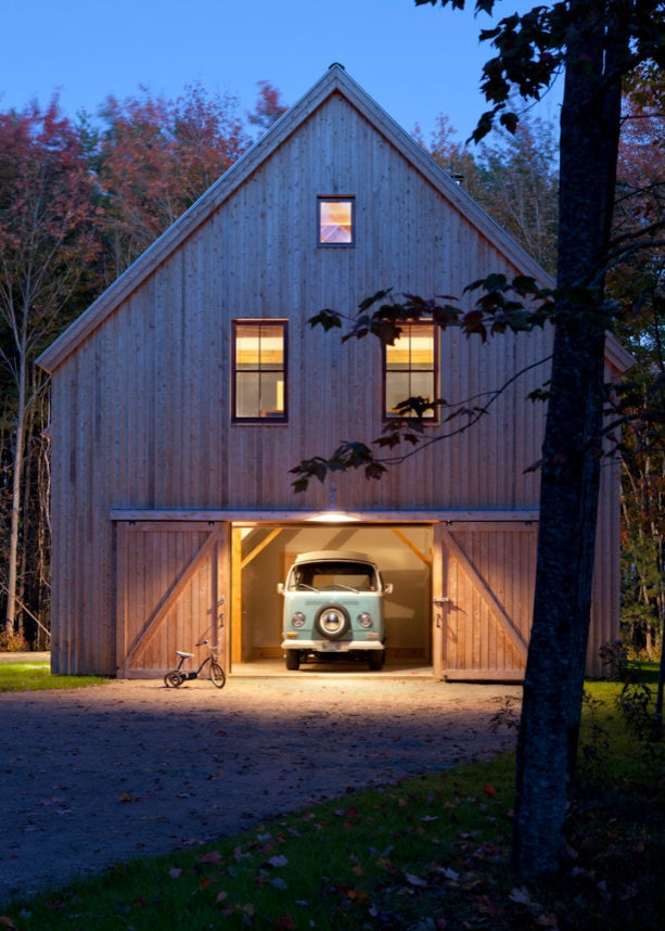 double z-brace exterior barn door for a mountain-style garage