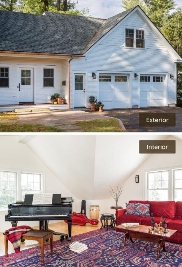 mid-sized contemporary bonus family room above a white door garage