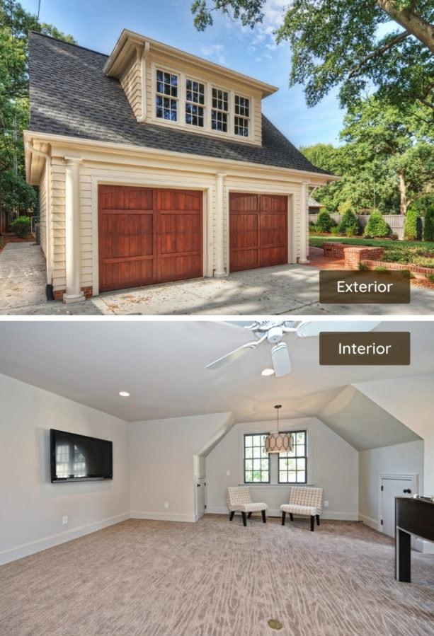spacious bonus family room above a detached garage