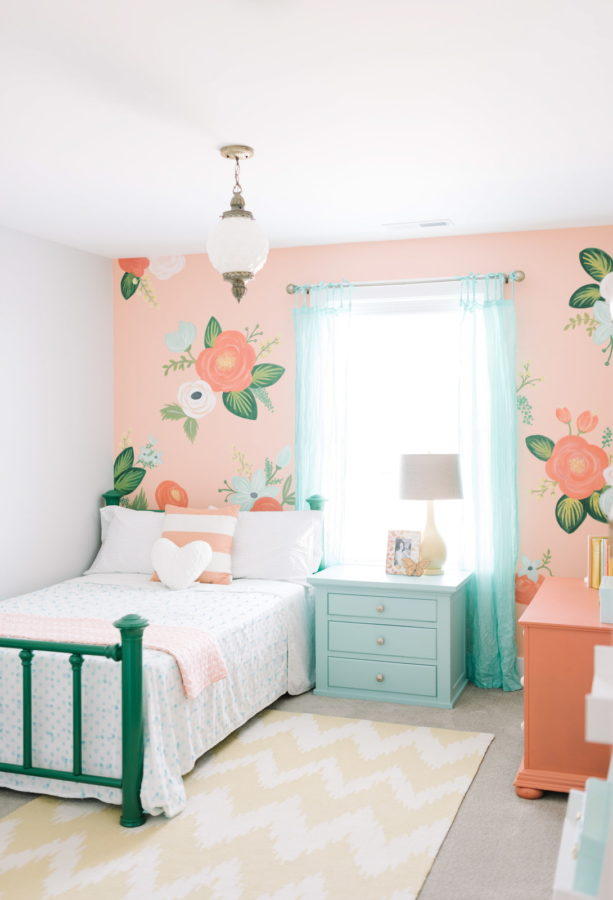 coral and blue tones in a traditional kid's bedroom