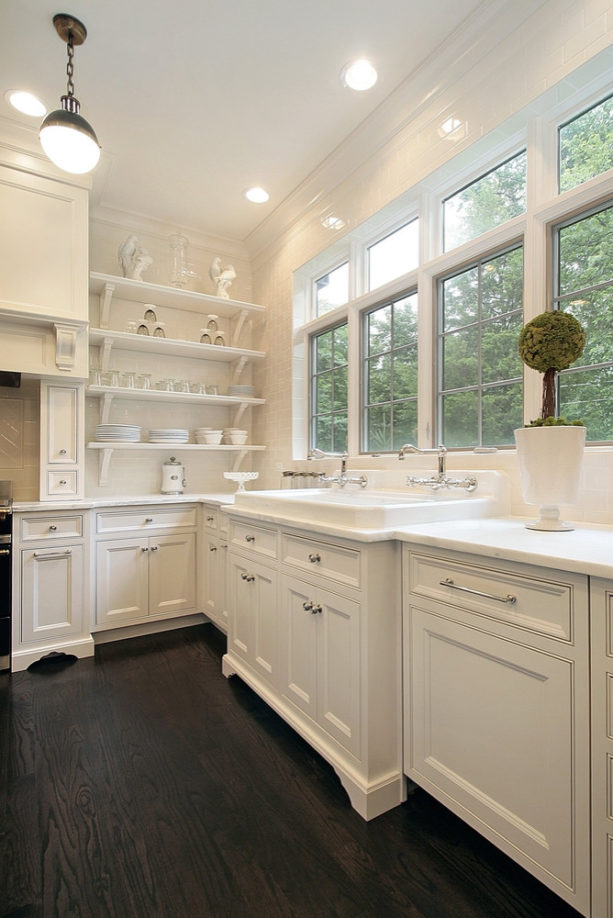 inset white floor to ceiling cabinets with open shelving design