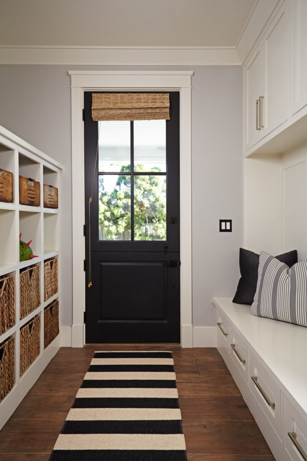 transitional small mudroom entryway with hickory hardwood flooring