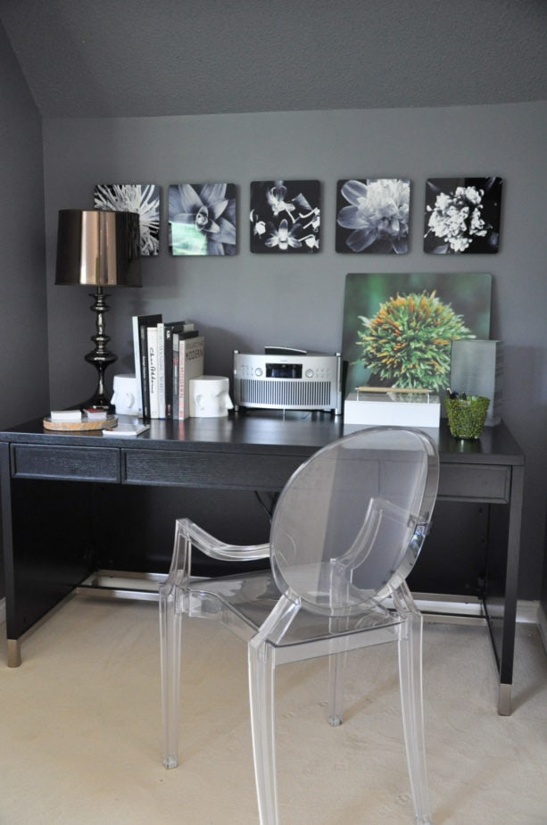 beige carpet floor as a match for dark grey walls in a contemporary home office
