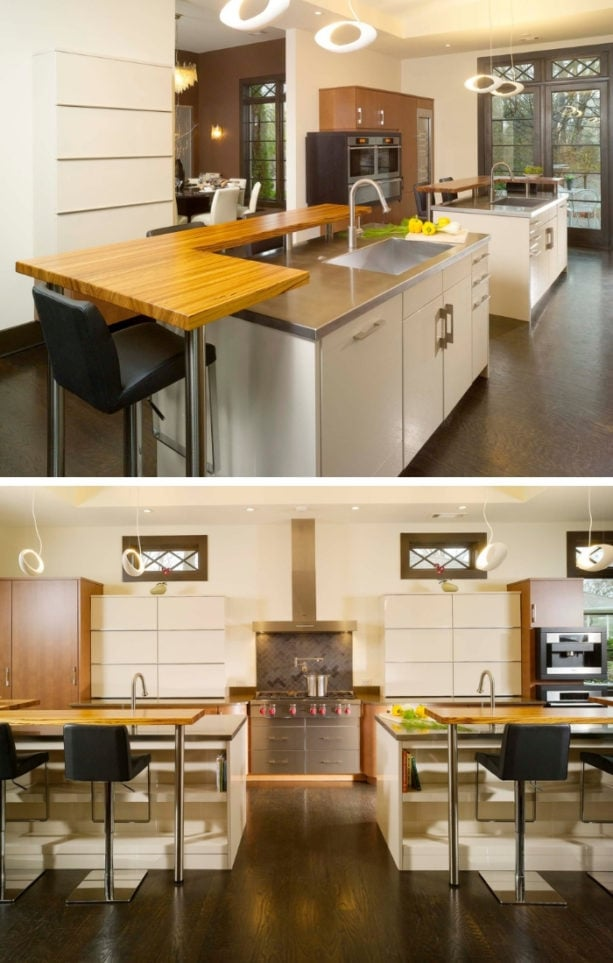 mirror-imaged dual two-level kitchen island with zebrawood bar tops