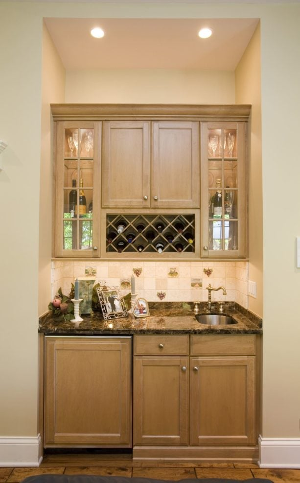 maple wine and beverages traditional kitchen cabinetry and Desert Tan wall paint