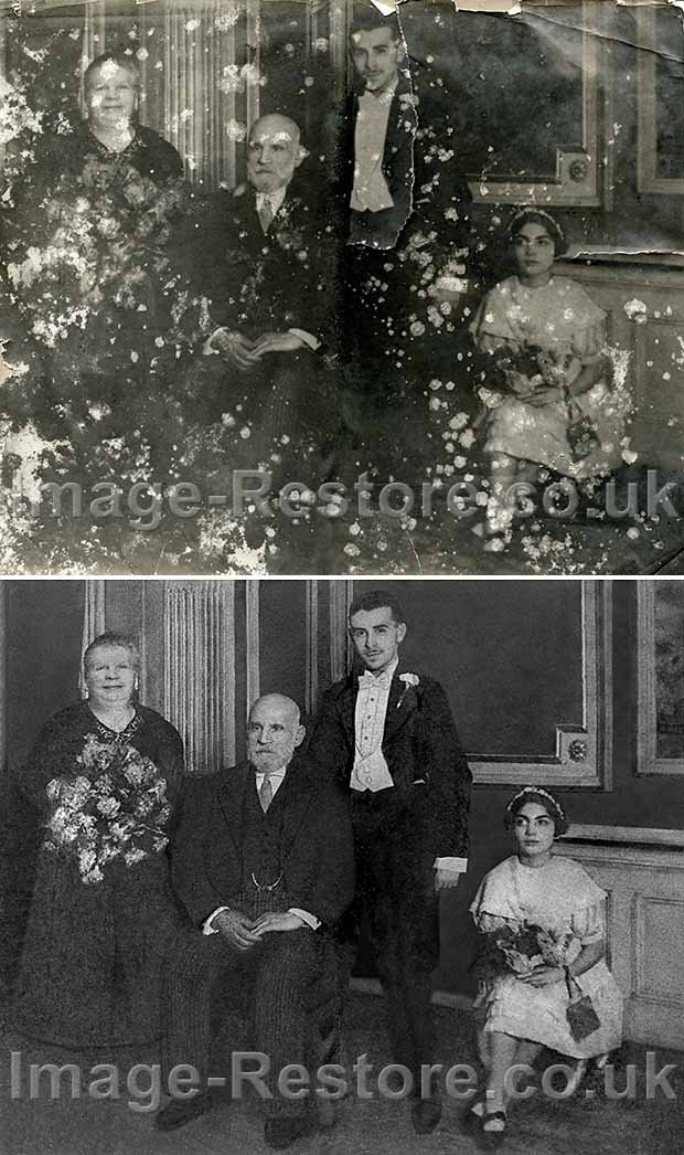 Old torn and water damaged photo restored