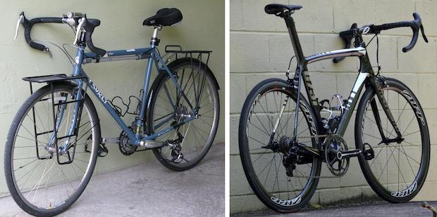 Split image showing a touring bike on the left and a road bike on the right