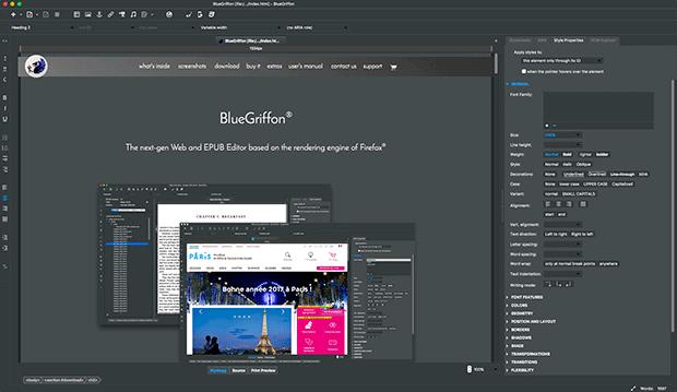 De Interface van BlueGriffon doet denken aan die van Photoshop.