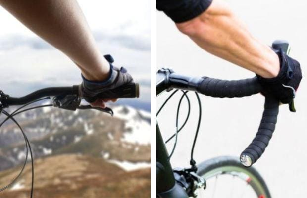 Split image showing a rider's hand on flat handlebar on the left and drop handlebar on the right
