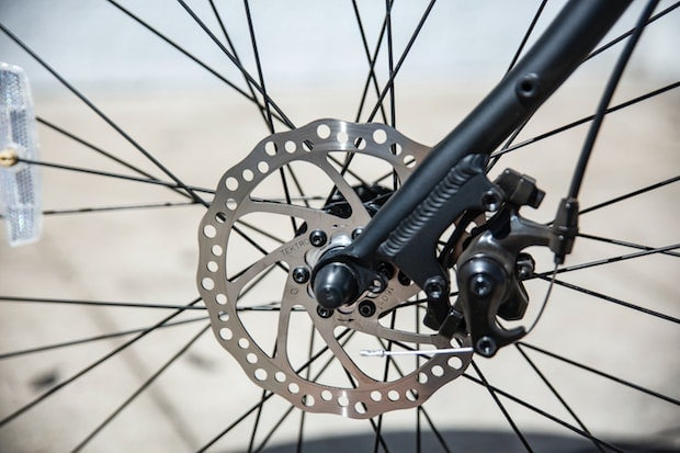 Side view of the rotor on a disc braking system on a bike