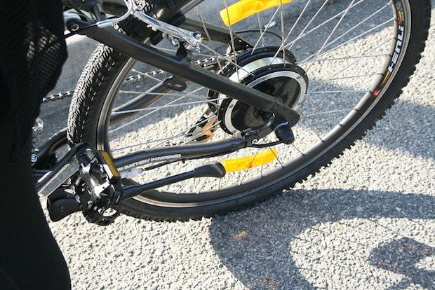 Closeup of a rear hub motor on an electric bike