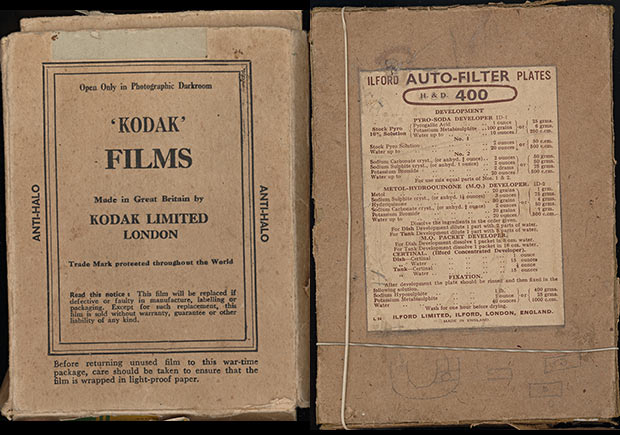 Old Kodak and Ilford Glass Photographic Plate Boxes