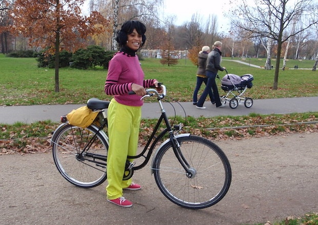 An adult cyclist getting ready to learn how to ride