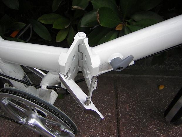 closeup of a folding bike hinge