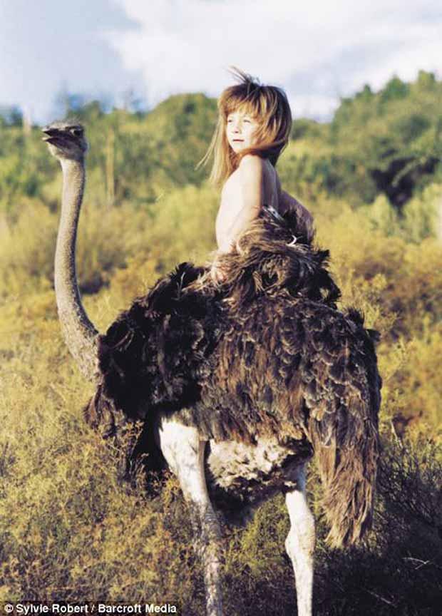 Tippi Degré and an ostrich