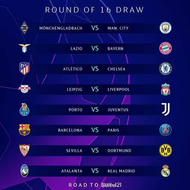 UEFA Champions League Round of 16 Draw 2020 21 Schedule