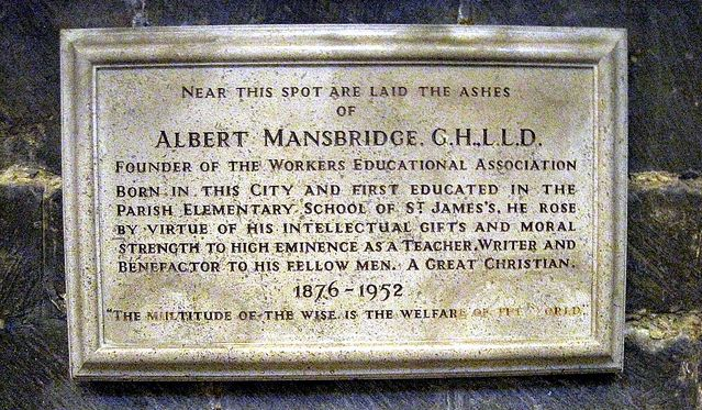Plaque commemorating Mansbridge in Gloucester. Photographed by calotype46/5200412657. ; sourced from Flickr and reproduced here under a Creative Commons Attribution-NonCommercial-ShareAlike 2.0 Generic (CC BY-NC-SA 2.0) licence