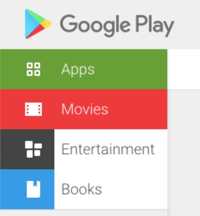 Menu Google Play Store