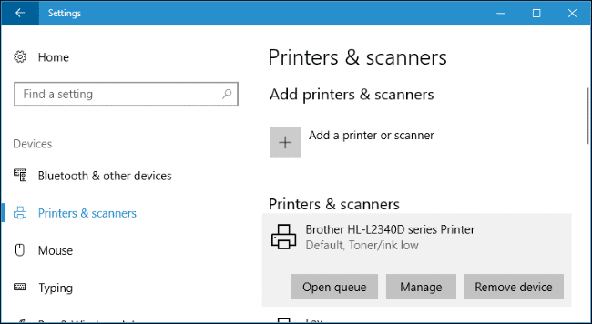 De printer spooler van Windows 10.