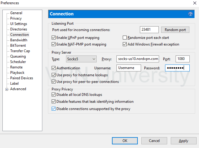 uTorrent NordVPN proxy settings